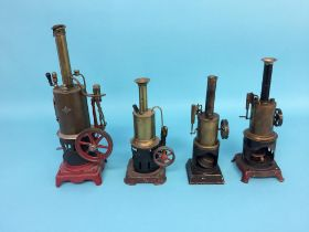 Four spirit fired model engines, one stamped G.B.N. and three German engines stamped B.W. (4)