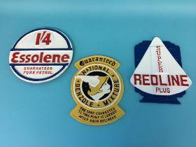 Three modern metalware Advertising plaques