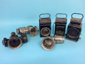 Six various railway and carriage lamps