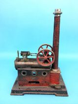A model spirit fired engine, stamped 'J. F. Made in Germany', 25cm width