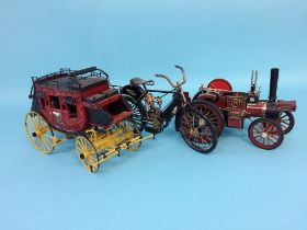 A Franklin Mint 'Wells Fargo and Co. Overland Stage Coach', a model traction engine and a model