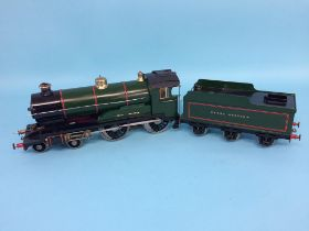 A spirit fired live model steam locomotive, 'Great Western', 4-4-0, with green livery, 8cm width x