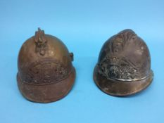 Two French Fire helmets, 'Pompiers'