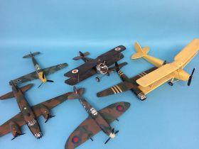 Six scratch built wooden World War I and World War II RAF and German war planes