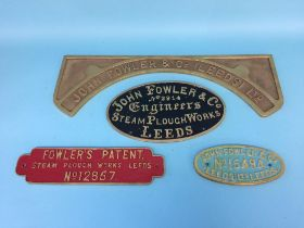 Four John Fowler and Co. Engineers, Steam Plough Works, Leeds, no. 2914, 12857 and 15494 wall