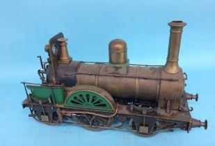 A live 3 ½ inch gauge 'Jenny Lind' steam locomotive model, 2-2-2. 40cm length