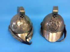 Two reproduction Fireman's helmets