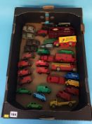 A tray of Dinky Die Cast vehicles, including 'Shell Chemicals', 'Esso', Slumberland', Ferrocrete'