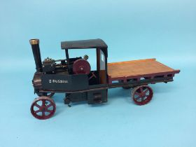 A steam driven flat bed wagon 'D. Russell', 40cm length