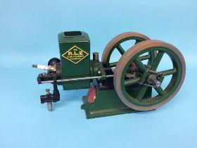 A model horizontal beam engine 'The R.L.E. Alyn Foundry, Wrexham', engine no. 324, 34cm width