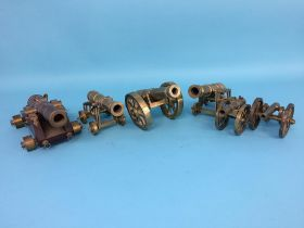 Six various brass Cannons