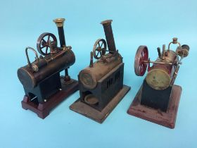 Three various spirit fired model engines, two stamped Germany (3)