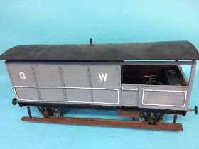 A 5 inch gauge model of a Great Western 20 ton Brake van, with grey livery