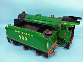 A live 3 ½ inch gauge steam locomotive and tender, Schools Class, Southern Railway, no. 900, 'Eton',