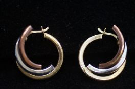 9ct gold tri-colour earrings