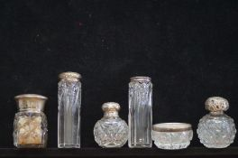 Victorian silver top bottles