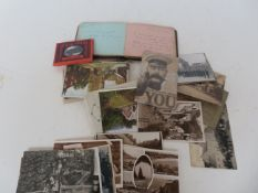 Collection of early postcards and autograph album