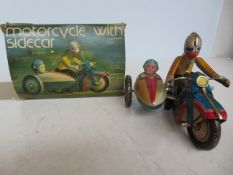 Tin plate motorbike & side car with box