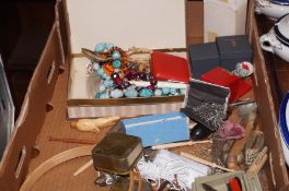 A box of costume jewellery and others
