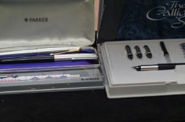 A collection of Parker pens to include The Calligr