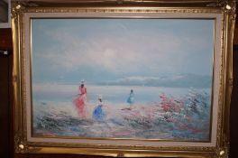 A gilt frame oil on canvas