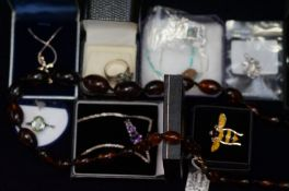 A collection of mainly silver costume jewellery