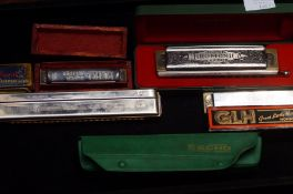 A collection of harmonicas