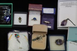 A collection of costume jewellery to include silve