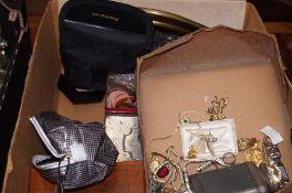 A box of costume jewellery to include binoculars