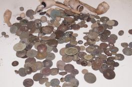 Collection of metal detector finds to include clay