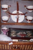 Picnic basket and contents to include a shadow box