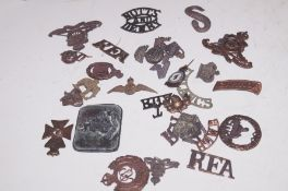 Collection of metal detector finds, mainly militar