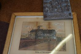Carved wooden panel together with a Hall i' th' Wo