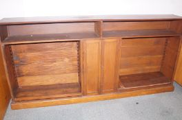 Victorian oak bookcase with central double cupboar
