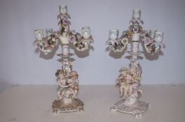 Pair of Porcelain Victorian Candelabras (Some Loss