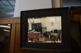Victorian Oak Framed Bevelled Mirror
