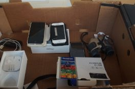 Box to include 3 Iphones, Olympus D-700 Camera and