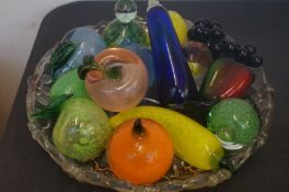 Glass Fruit Bowl with Glass Fruit