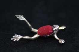 Silver Frog Pin Cushion - Approx 3cm