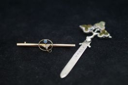 Silver Hallmarked Book Marker together with a 9ct