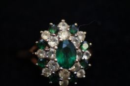 9ct Gold Dress Ring with Green and White Stones -