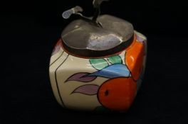 Clarice Cliff Sugar Bowl with Metal Nips