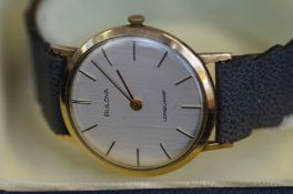 Bulova 9ct gold cased Longchamp wristwatch with bo