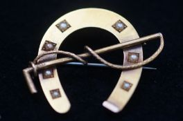 Yellow Metal Tested for Gold Horseshoe Pin Brooch