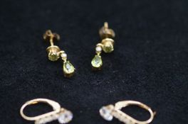 Two Pairs of 9ct Gold Earrings (One Pair with Peri