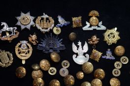 Collection of Military Buttons and Badges