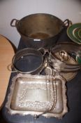 Victorian Jam Pan together with early Plated Ware