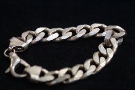 Heavy Gents Silver Curb Bracelet - 81g