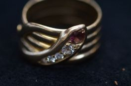 18ct Gold Ring Set with Ruby and Diamonds, 11.8g -