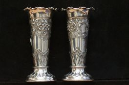 Pair of James Dickson Silver Plated Vases - 13cm